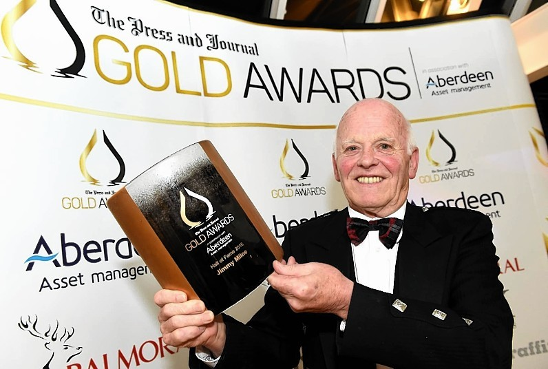 Jim Milne, Managing Director and Founder of Balmoral Group wins the Hall of Fame Award 2016 at the Press and Journal Gold Awards held at the Marcliffe Hotel.