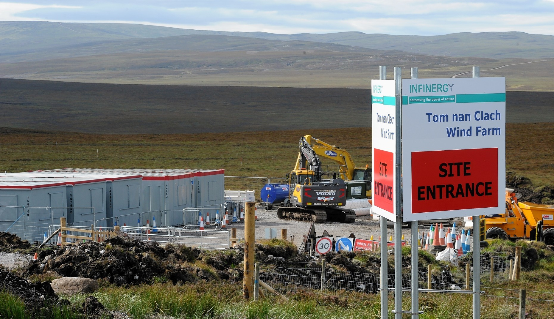 Work on the access roads for the controversial Tom Nan Clach windfarm on Dava Moor between Ferness and Carrbridge.