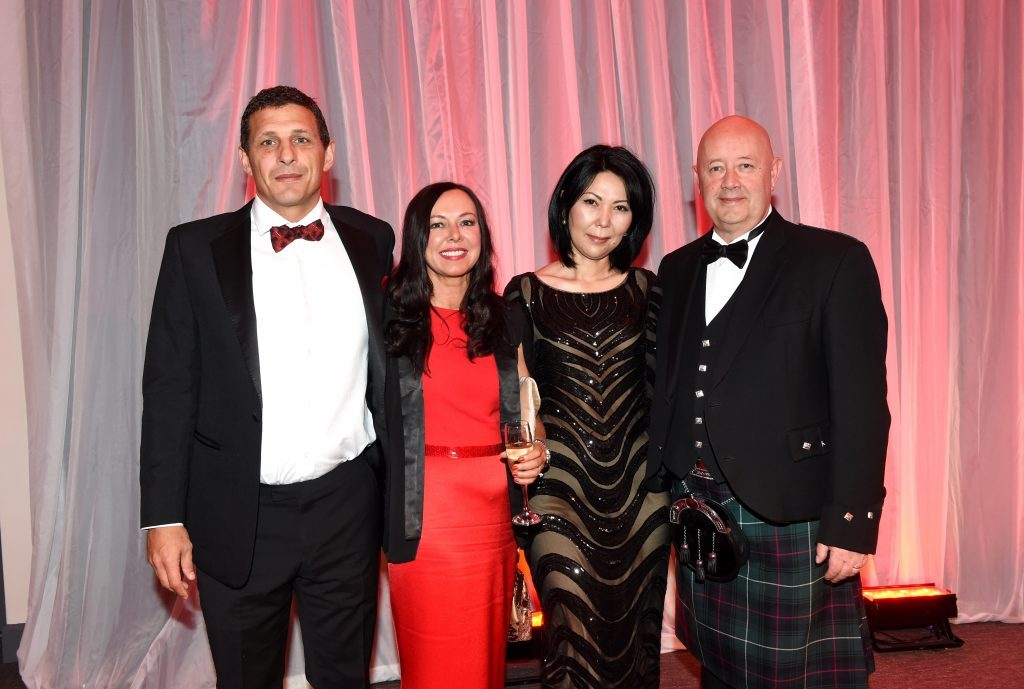 ENERGY BALL 2016 - (from left) Michael Bairstow, Gillian Miller, Gulzat Ibraimova and Stewart Scott attending the VIP drinks reception at Energy Ball 2016 at AECC.  Picture by KEVIN EMSLIE