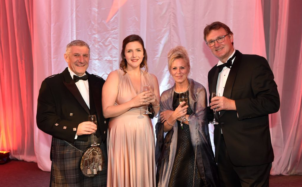 ENERGY BALL 2016 - (from left) Russell Milne, Briana Carey with Jo and Tim McMillan attending the VIP drinks reception at Energy Ball 2016 at AECC.  Picture by KEVIN EMSLIE