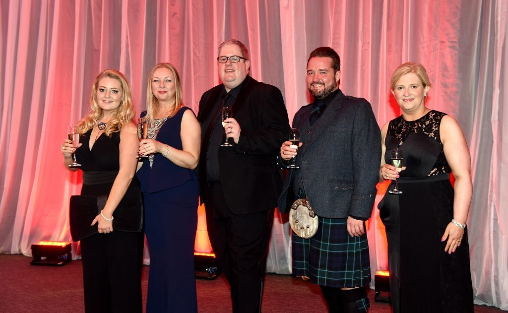 ENERGY BALL 2016 - (from left) Rhona Campbell, Donna Christie, Gavin Tannock, Darren Gibb and Anne Martin attending the VIP drinks reception at Energy Ball 2016 at AECC.  Picture by KEVIN EMSLIE