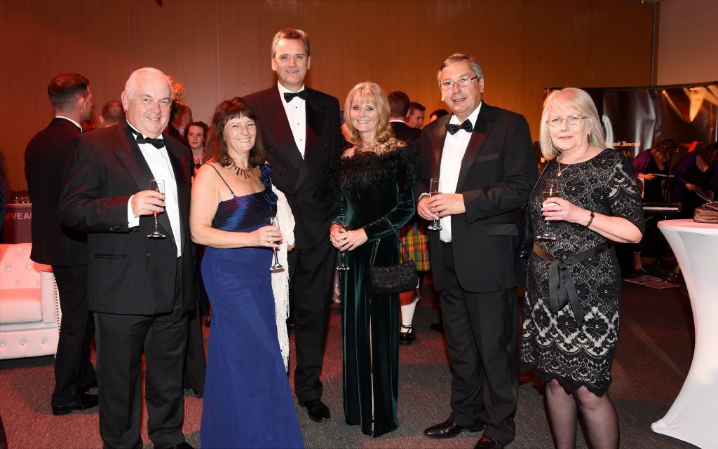 ENERGY BALL 2016 - (from left) Graham Brooke, Lindsey Fettes, Graham and Lyndsay MacEwen, Graham Mountford and Jacqui Maynard attending the VIP drinks reception at Energy Ball 2016 at AECC.  Picture by KEVIN EMSLIE