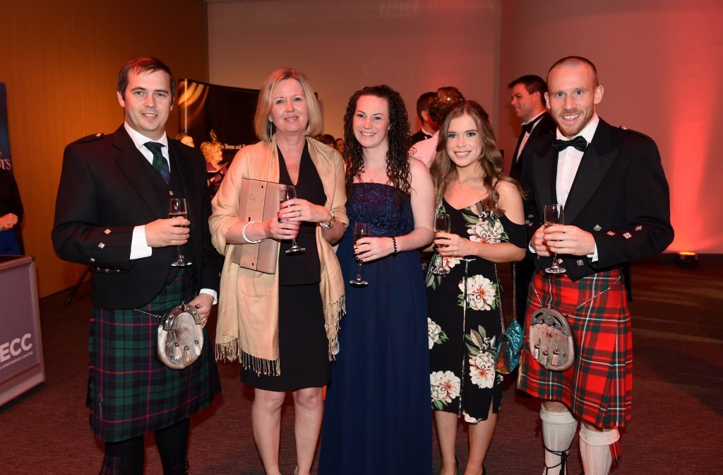 ENERGY BALL 2016 - (from left) Graham Morrison, Fiona Matthew, Natalie Thomson, Kirsty Buchan and Kyle Greig attending the VIP drinks reception at Energy Ball 2016 at AECC.  Picture by KEVIN EMSLIE