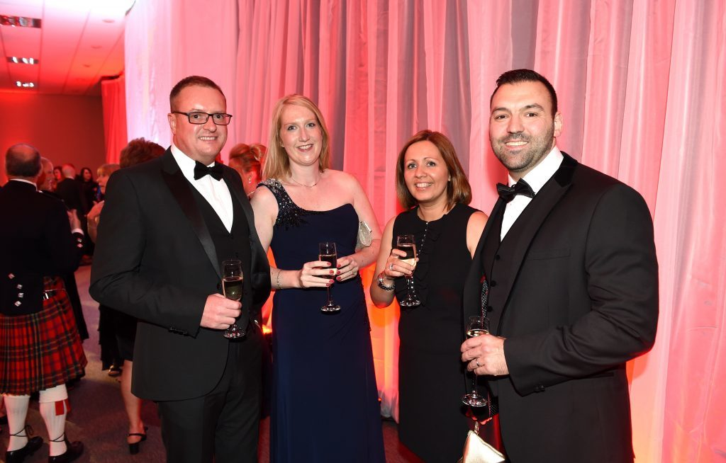 ENERGY BALL 2016 - (from left) David and Nicola Henderson with Wendy and Chris Atkinson attending the VIP drinks reception at Energy Ball 2016 at AECC.  Picture by KEVIN EMSLIE