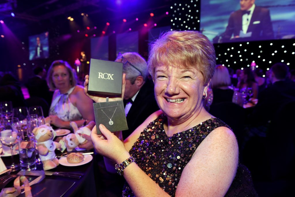 ENERGY BALL 2016 - Winner of Rox in a box raffle, Alison Skinner from Ellon, wins a £2,500 diamond necklace
