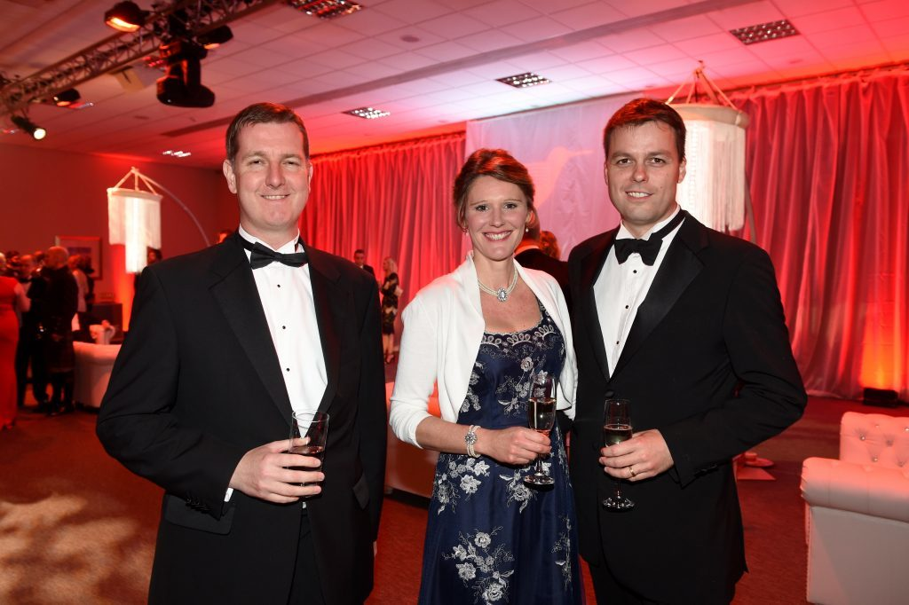 ENERGY BALL 2016 - (from left) Jonathan Milne with Rosemary and Iain Brotchie attending the VIP drinks reception
