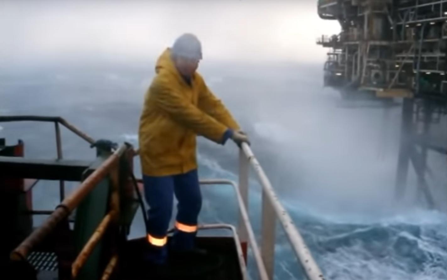 Footage of huge waves has been captured
