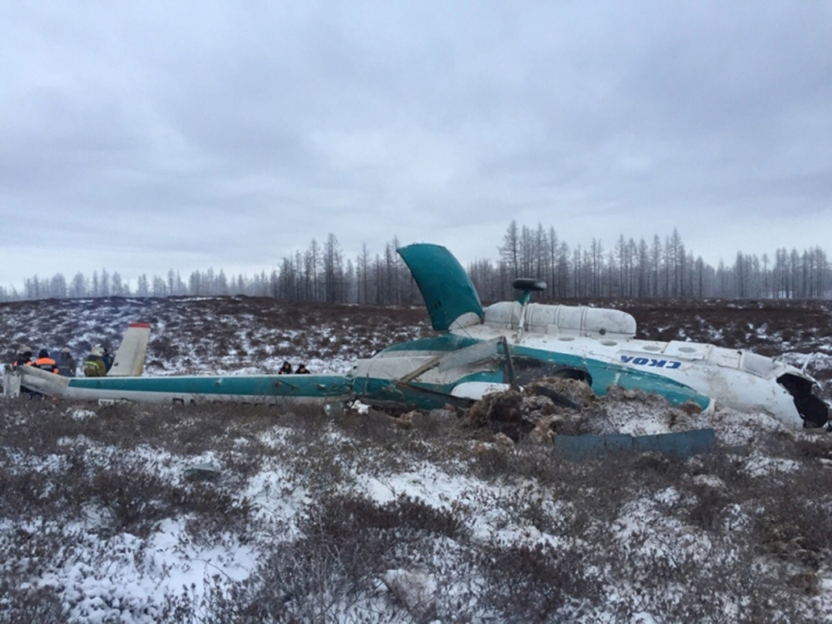 A view of the Mil Mi-8 helicopter crash site. According to preliminary data, the helicopter owned by SKOL Airline, LLC made an emergency landing on its way from Krasnoyarsk Territory to the village of Urengoy.