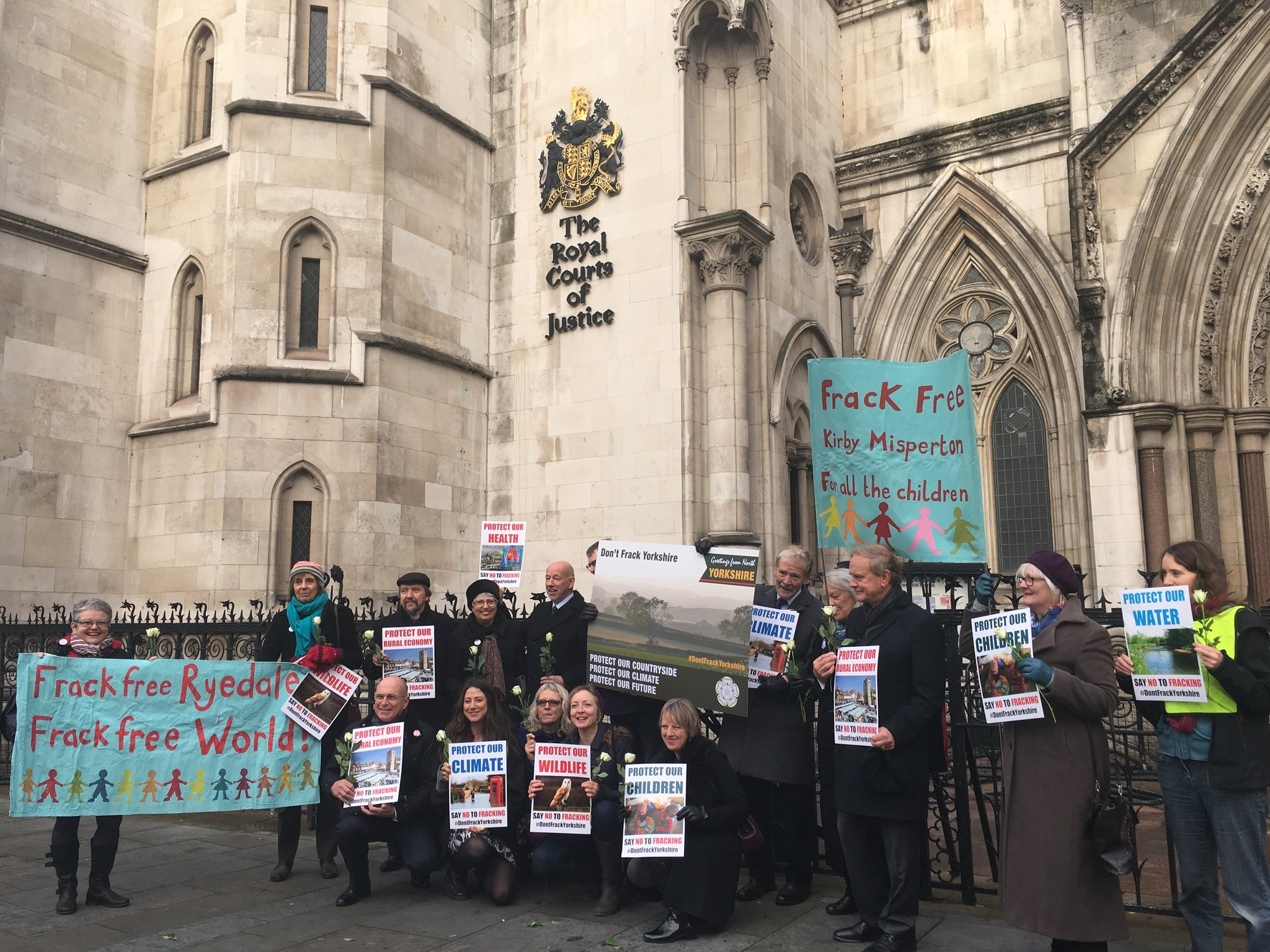 Residents of Kirby Misperton in Ryedale, North Yorkshire, join anti-fracking campaigners outside the Royal Courts of Justice in London. Picture from FoE.