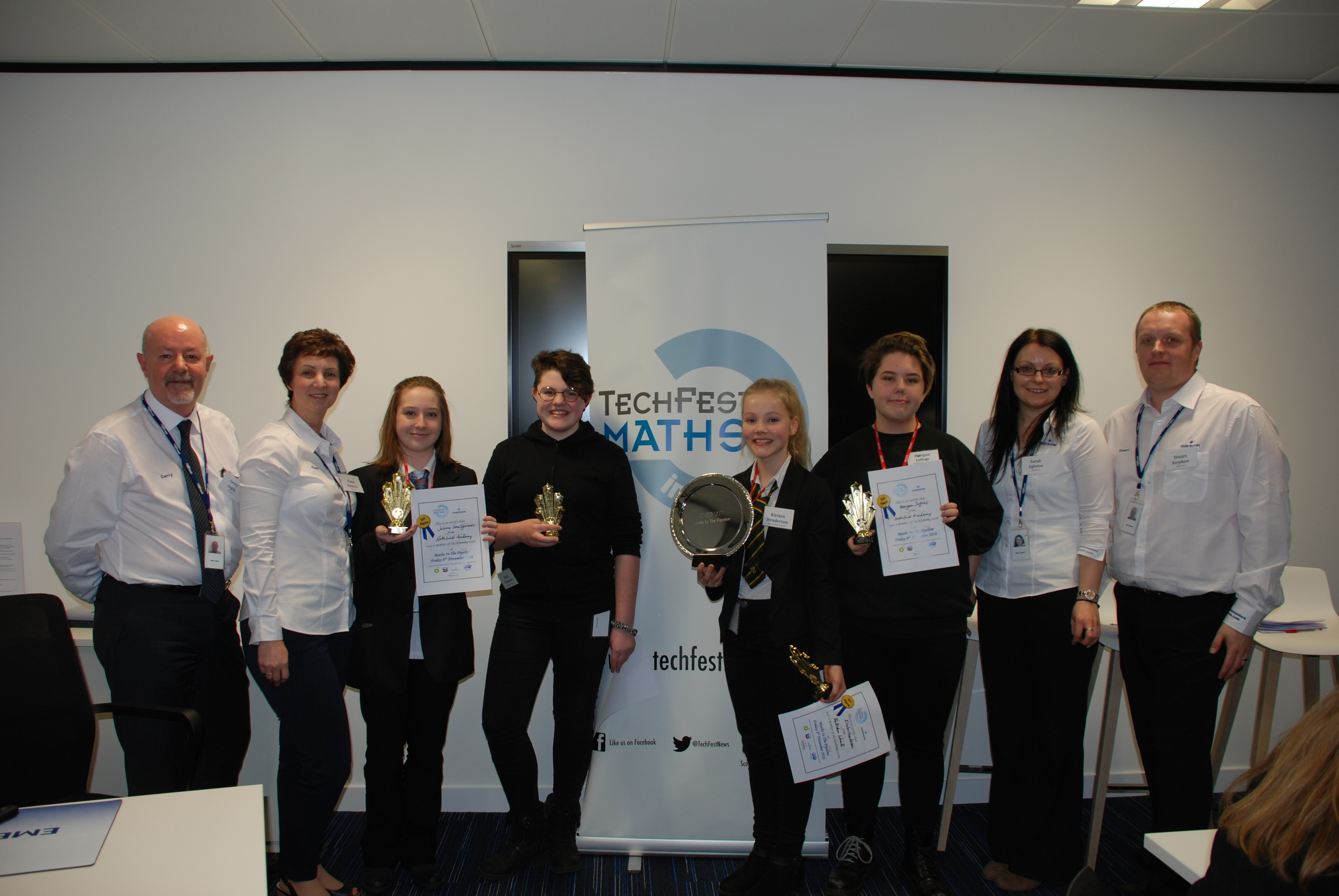 Maths in the Pipeline business challenge winners with Emerson STEM Ambassadors.