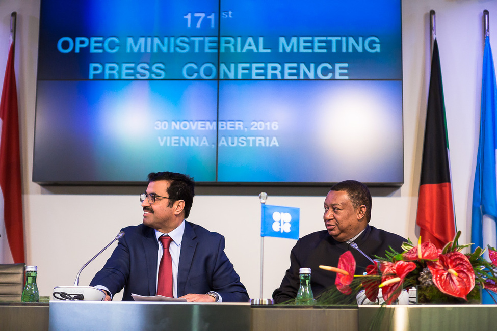 Qatari energy minister Mohammed Al-Sada, left, with Opec general secretary Mohammed Barkindo at a press conference in Vienna during which the output deal was announced.
