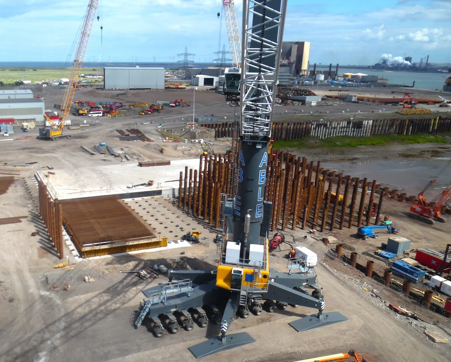 Construction work on Able UK's new ultra-strong quayside. Picture from Able UK.