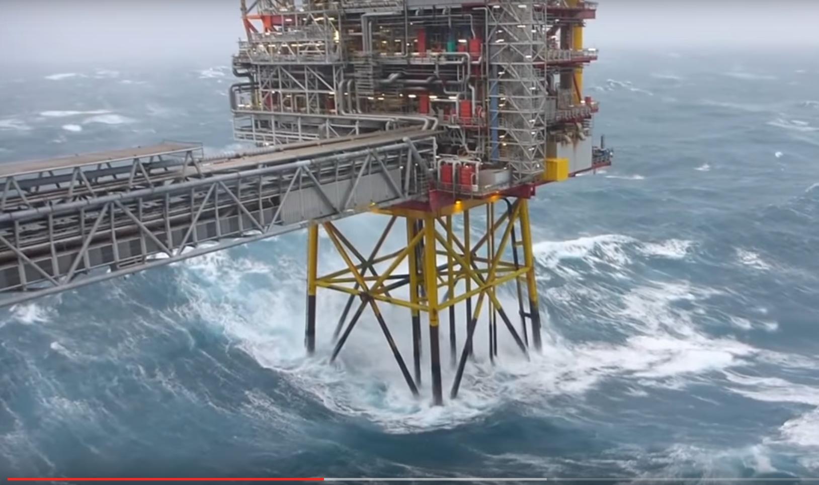 Workers have captured huge storm waves offshore