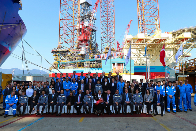Maersk Drilling has taken delivery of the Invincible rig, seen in the background.