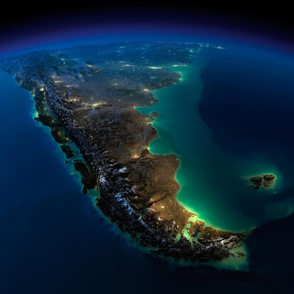 A satellite image of the lower part of South America