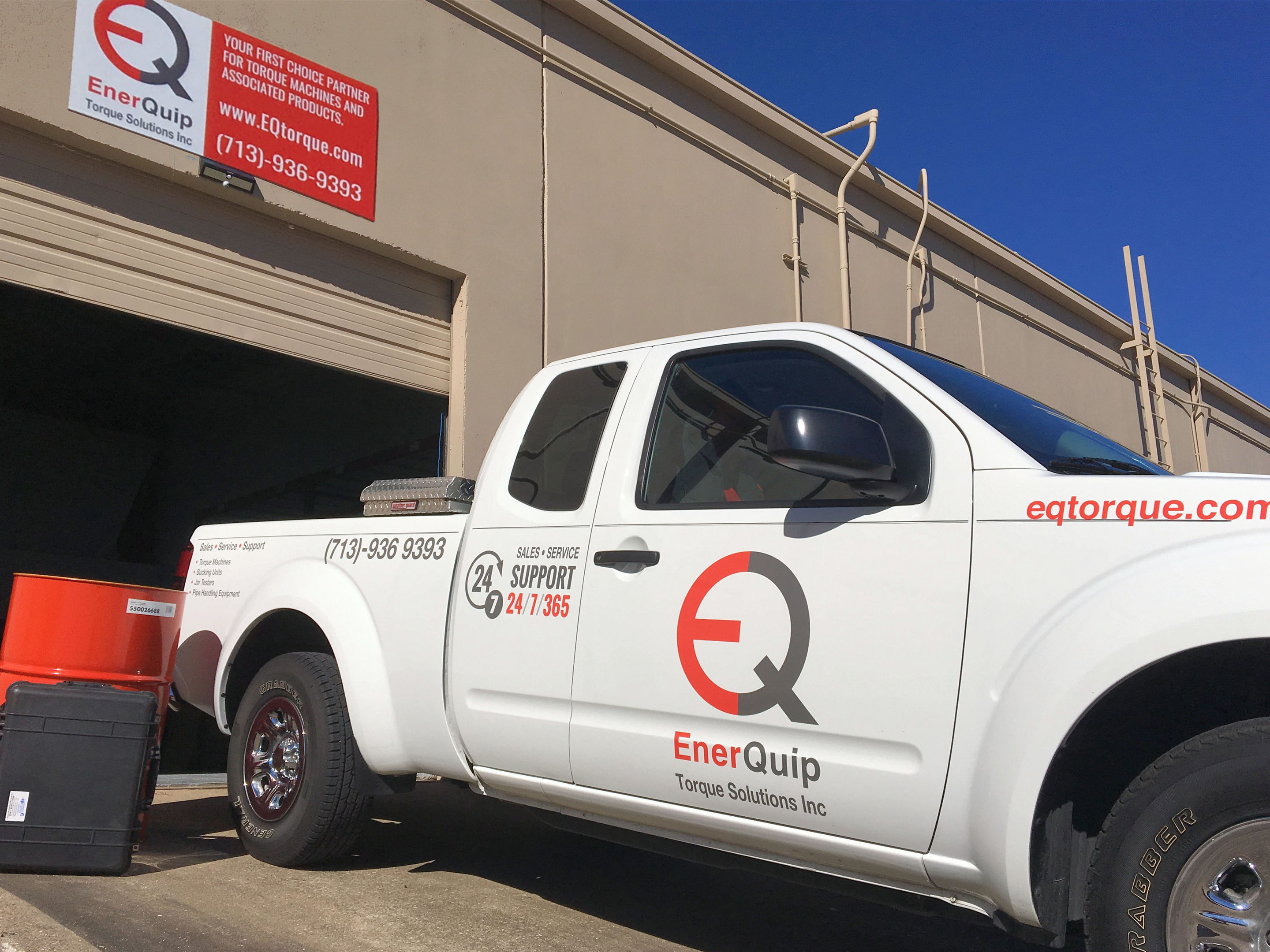 An EnerQuip branded vehicle at the firm's Houston base.