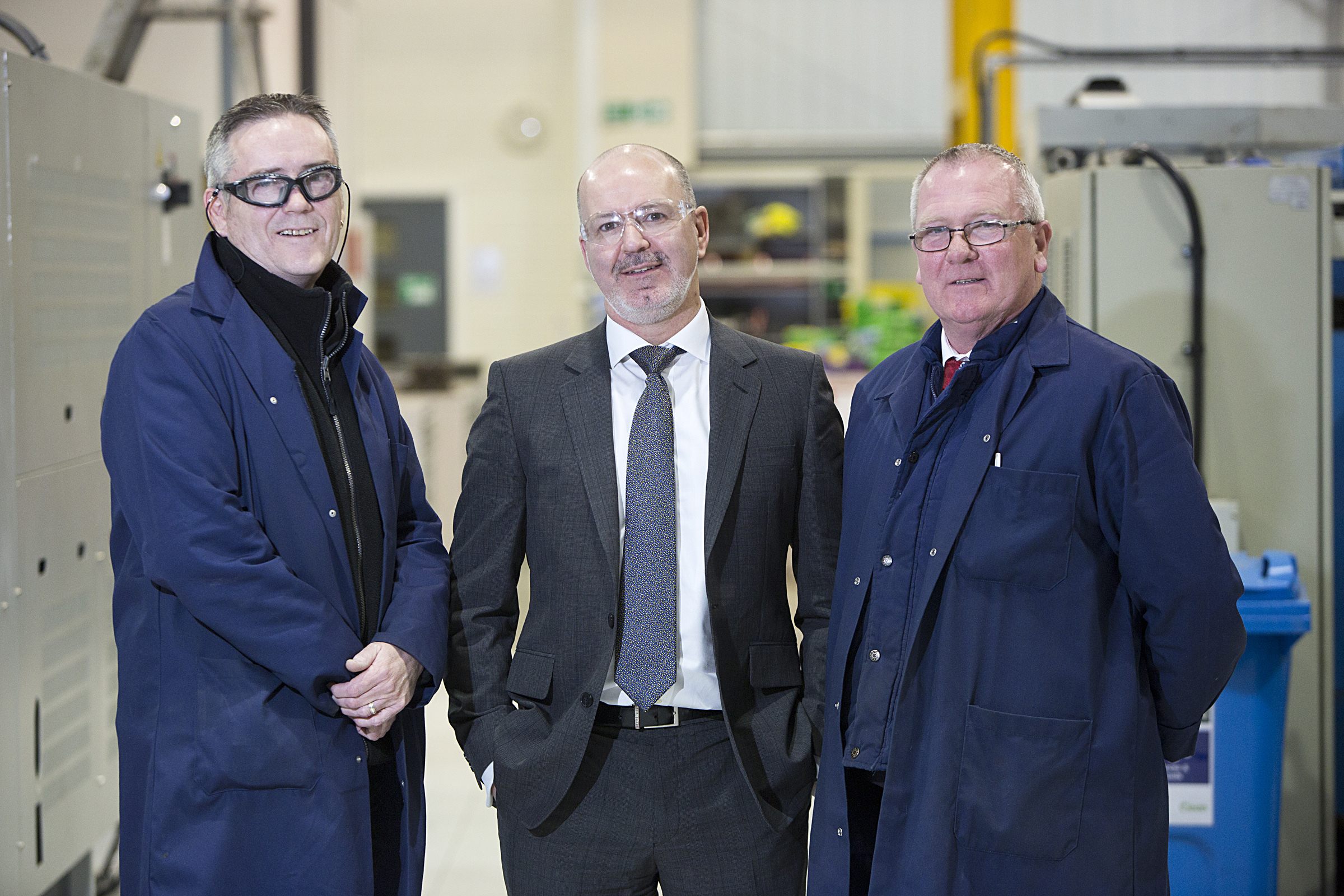 L-R: Jim McBride, Manufacturing Supervisor of Electronics and Microwave divisions, Jim Davidson, CEO of Albacom and Ronnie McKenzie, Surface Engineering & Machining Supervisor.