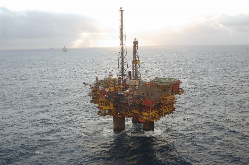 Aerial photography of Shell's Brent Delta Platform in the Northern North Sea, which is now being decommissioned