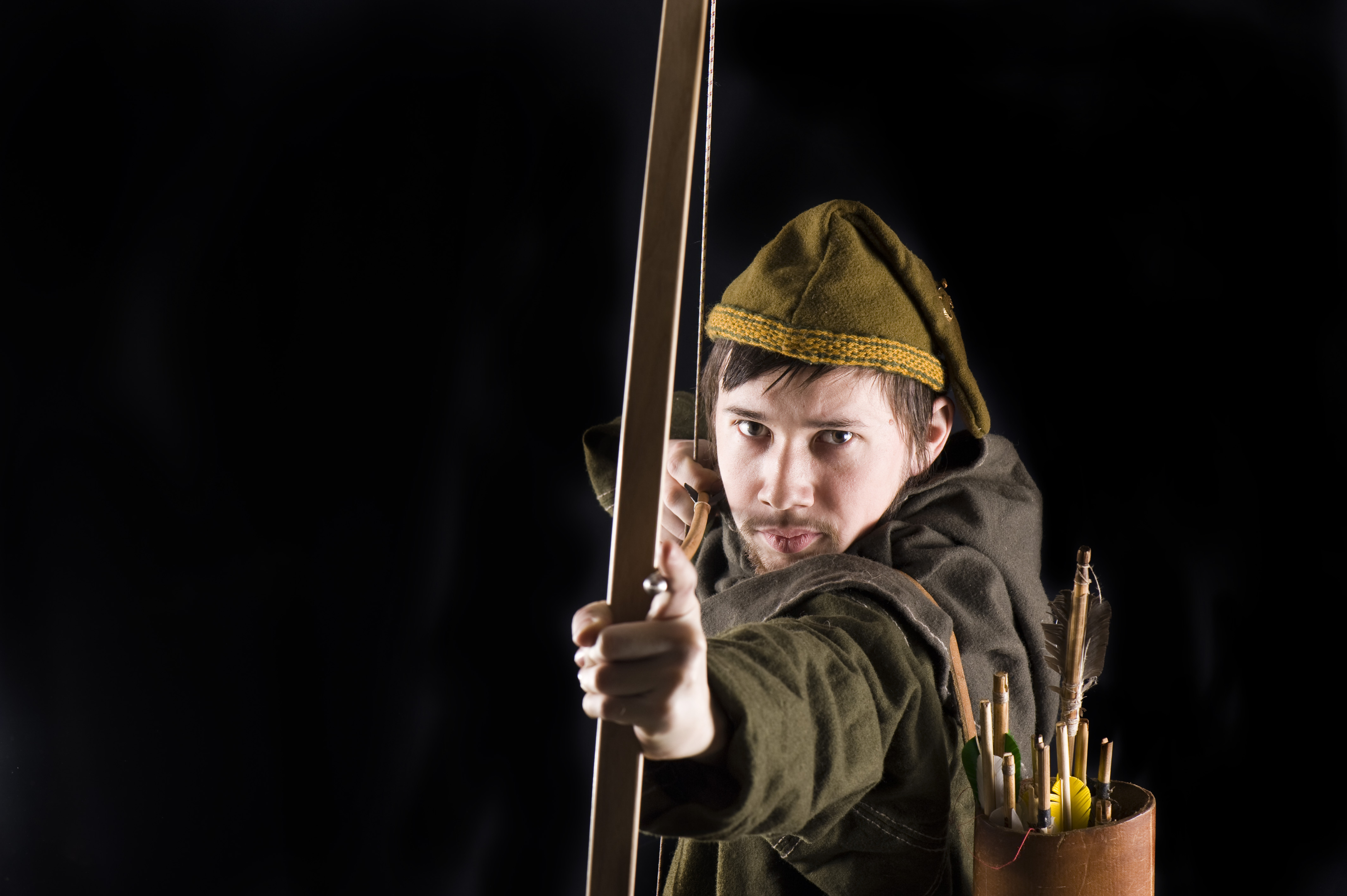 A file photo of an actor dressed in the style of Robin Hood