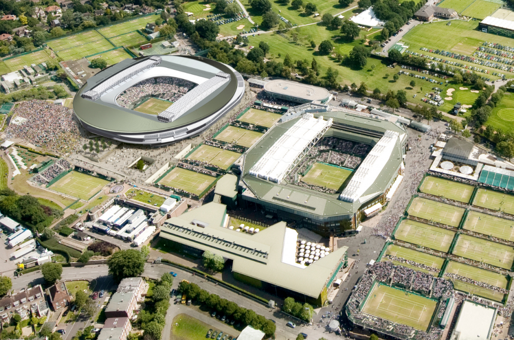 A computer generate image of the roof installed on No. 1 Court, in the top left-hand corner of the picture. Image courtesy of KSS Design Group.