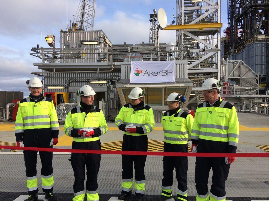 From left: AkerBP chairman Øyvind Eriksen,, Norwegian Energy Minister Terje Søviknes., AkerBP chief executive Karl Johnny Hersvik, Ivar Aasen OIM Bjørn Thore Ribesen and Aker BP's Sverre Skogen.