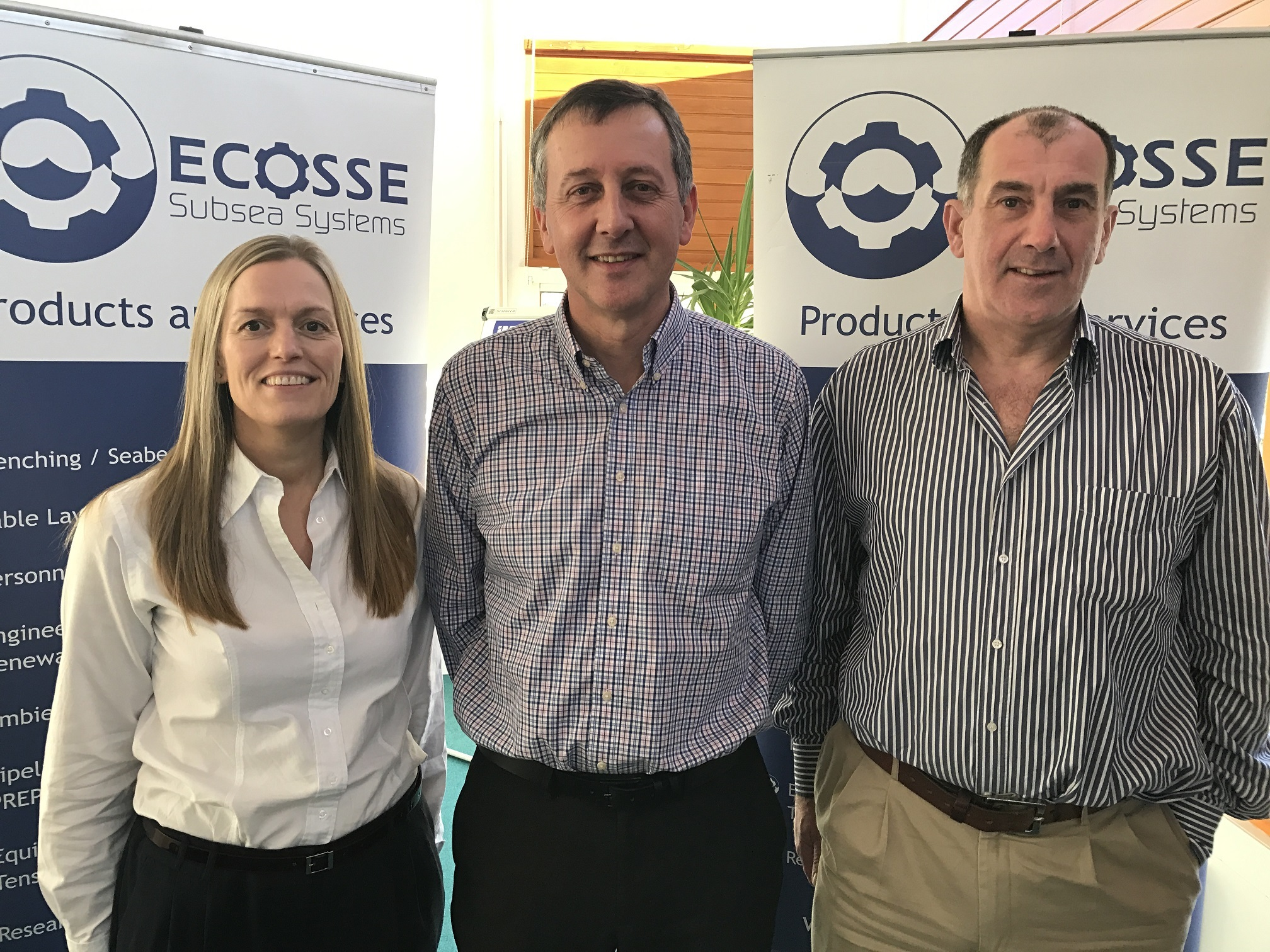 : Ecosse Subsea Systems commercial manager Iain Middleton (centre) with operations director Mo Petrie, left, and managing director Mike Wilson