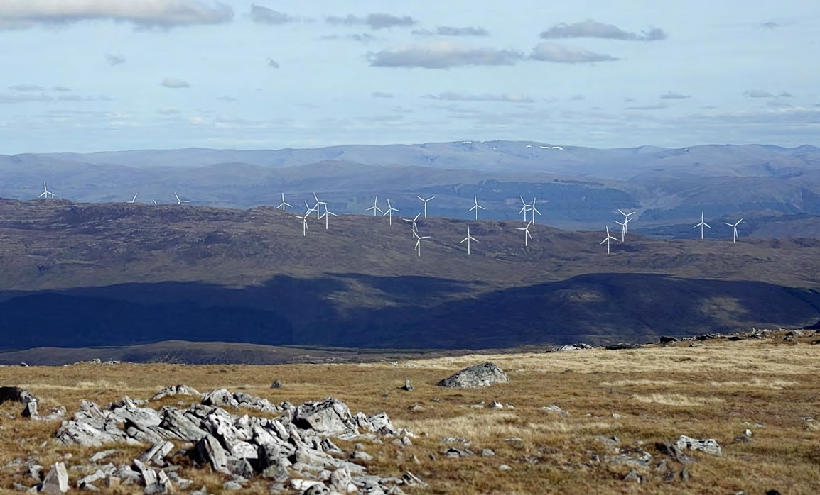 Image shows the proposed Beinneun turbines on the right, with three of the existing turbines of the operational Millennium Wind Farm visible on the far left of the image.