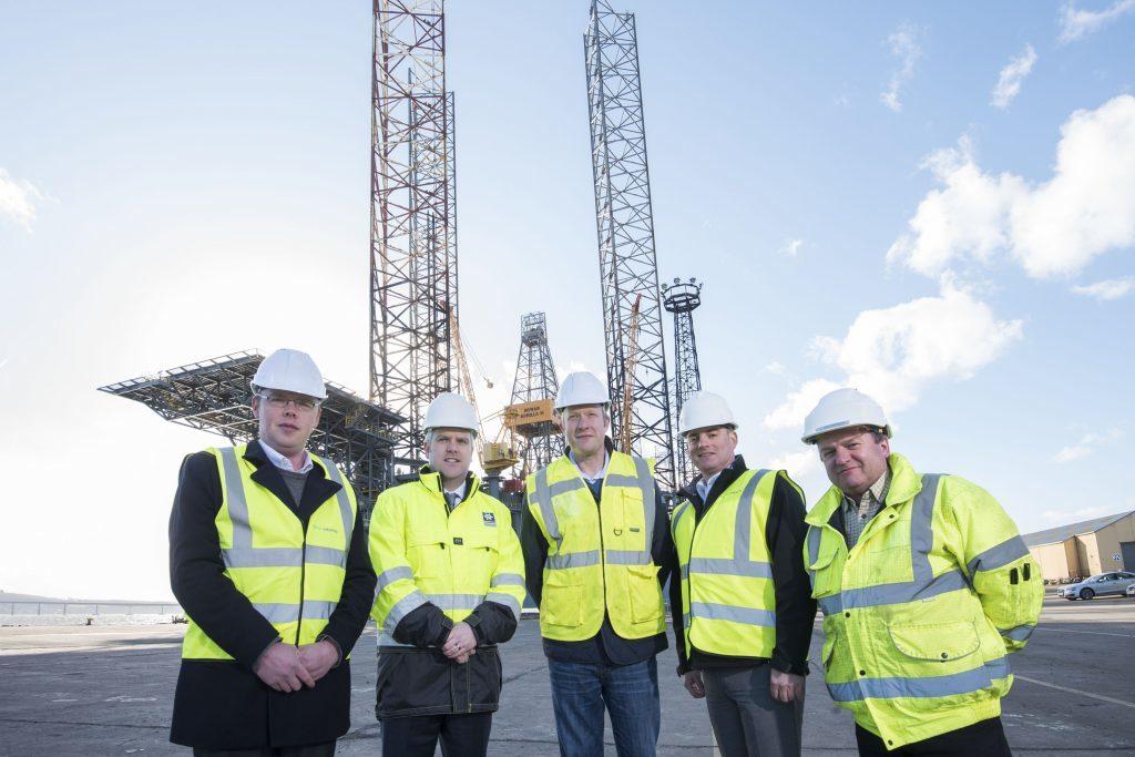 – James Gregg (Motive Offshore), Dundee Port manager David Webster, Alex Fyfe (Motive Fabrication), Dave Acton (Motive Offshore), Gary Mitchelson (Motive Fabrication)