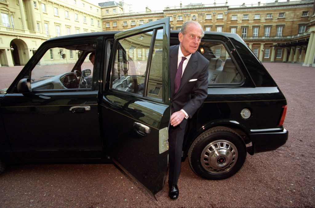 The Duke of Edinburgh with his Metrocab taxi at Buckingham Palace in London as the eco-friendly taxi will go on display after almost two decades of royal service.