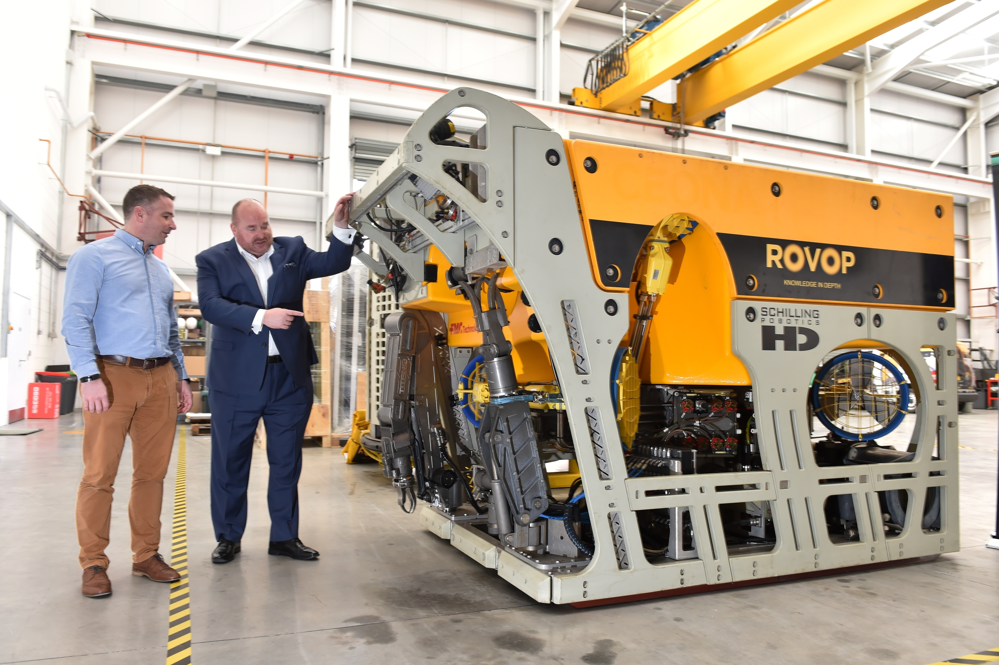 Business - Aberdeen-Houston Gateway delegates visited Rovop, who will make expansion announcement. Euan Tait (Commercial Director, ROVOP) and Jeffrey Blair (Director, Europe, Middle East and Africa - Greater Houston Partnership).