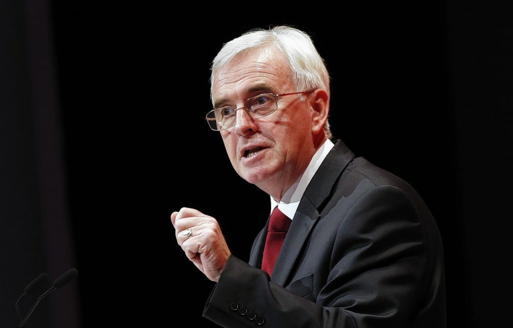 File photo of shadow chancellor John McDonnell
