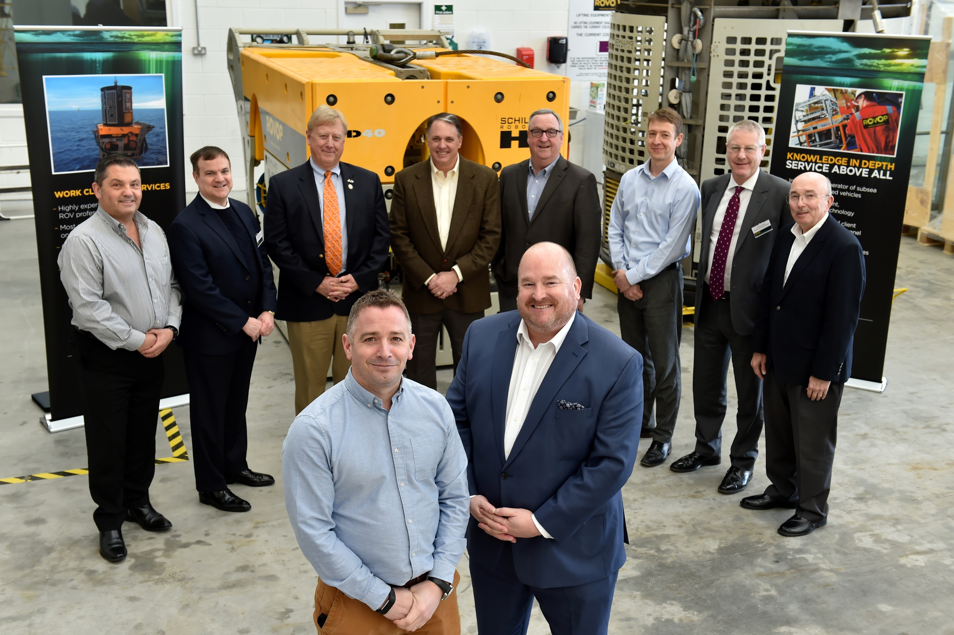 Business - Aberdeen-Houston Gateway delegates visited Rovop, who will make expansion announcement. Picture of (L-R) Euan Tait (Commercial Director, ROVOP), Jeffrey Blair (Director, Europe, Middle East and Africa - Greater Houston Partnership) and Houston delegates.
