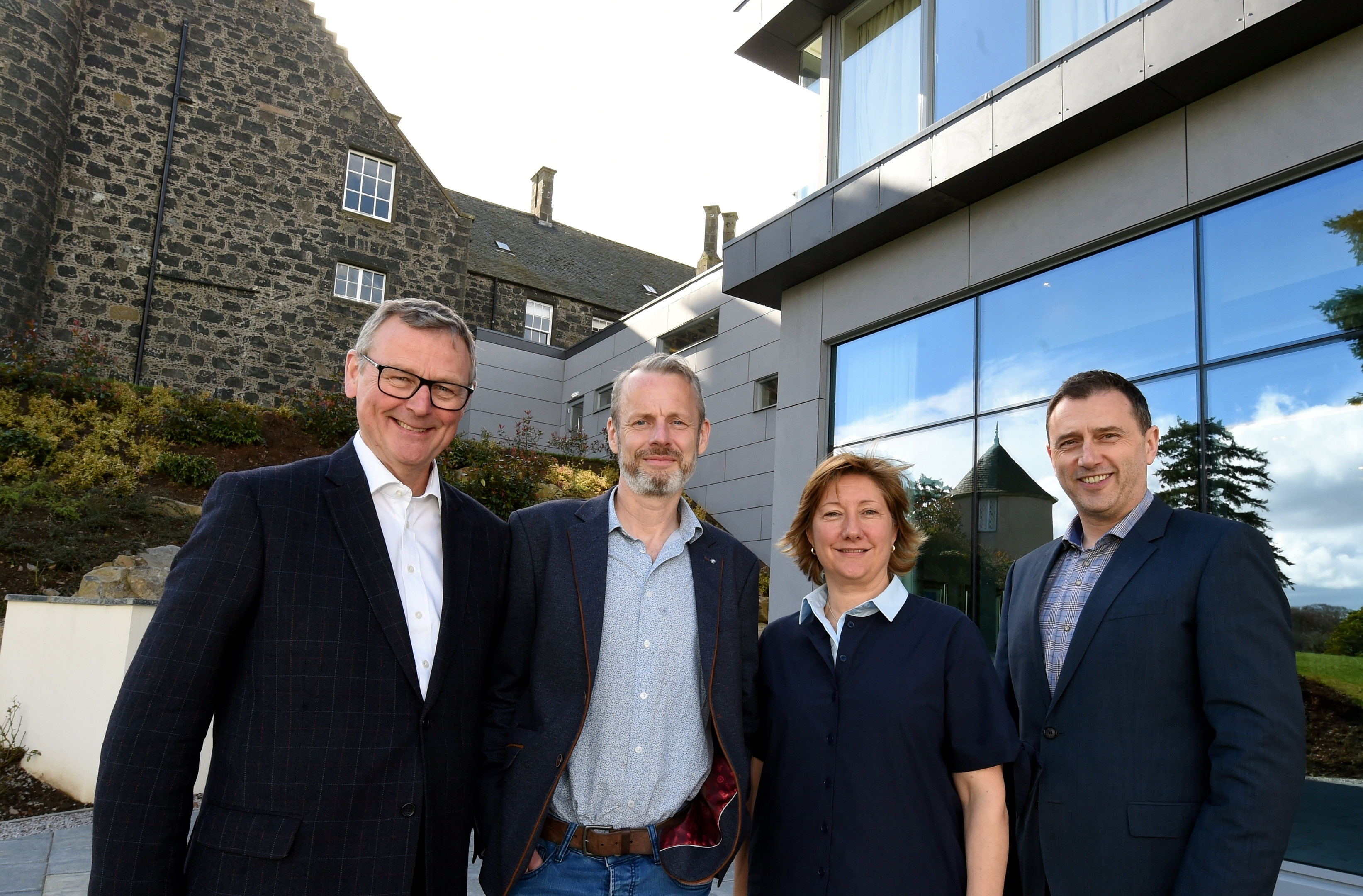 The Visit Aberdeenshire Tourism conference at Meldrum House, Oldmeldrum. In the picture are from left: Colin Crosby, chairman, Visit Aberdeenshire: Justin Reid, head of destinations, trip advisor: Clare Bruce, vice chairman, Visit Aberdeenshire and Russell Borthwick, Aberdeen and Grampian chamber of Commerce.