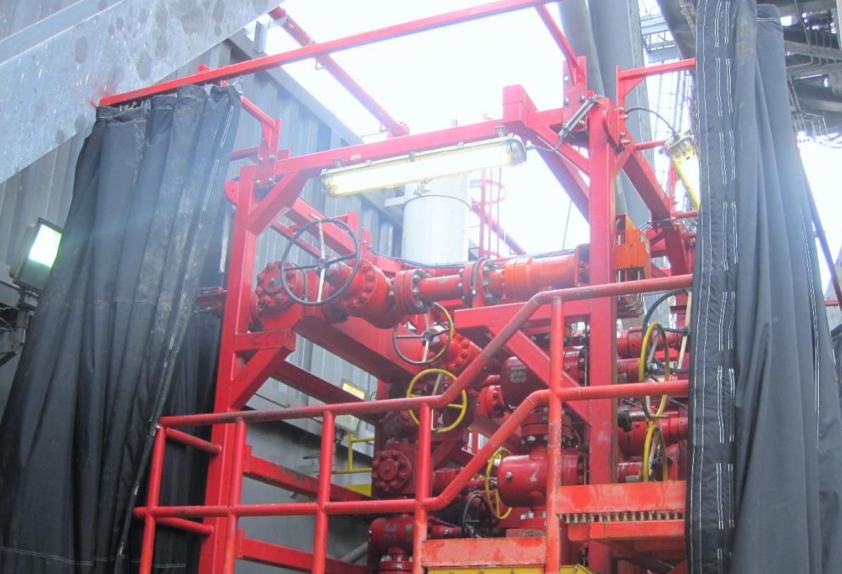 One of JBS's blast curtains installed on an oil platform.