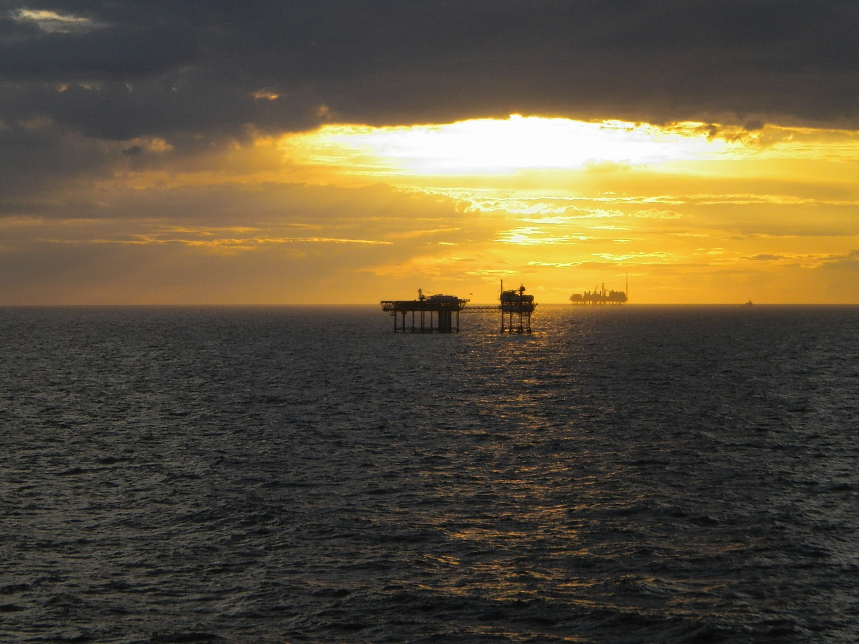 An unmanned gas platform in the southern North Sea