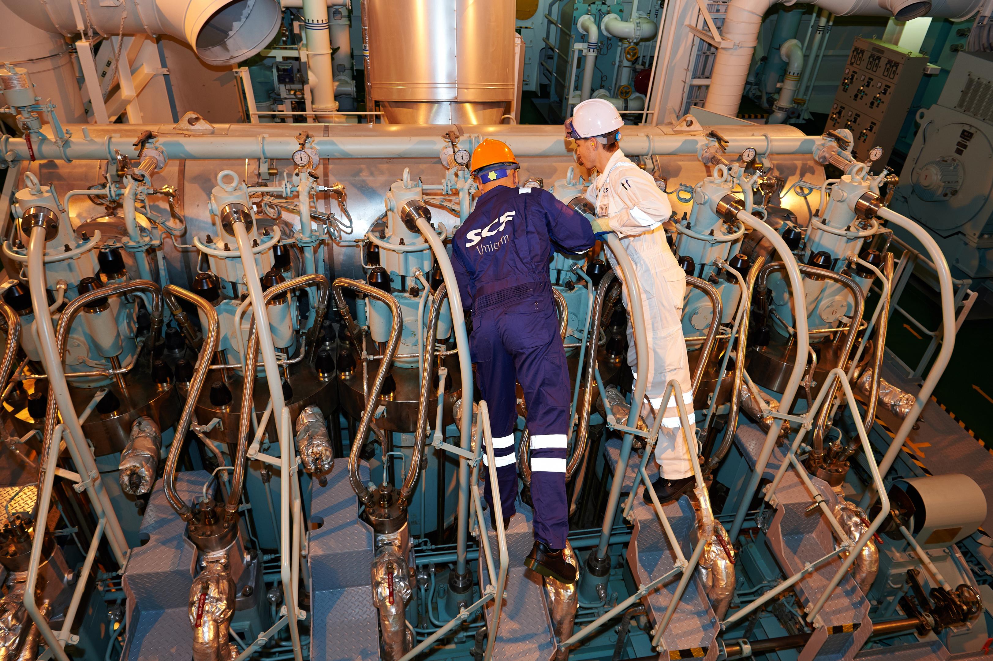 Engineers on a Sovcomflot ship