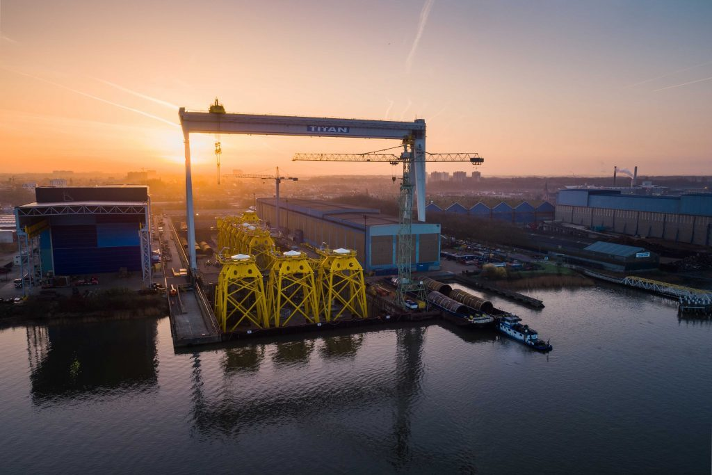 Jackets for the Beatrice offshore wind farm at Smulders' fabrication yard in Belgium, which will be installed at the site by Seaway Heavy Lifting.