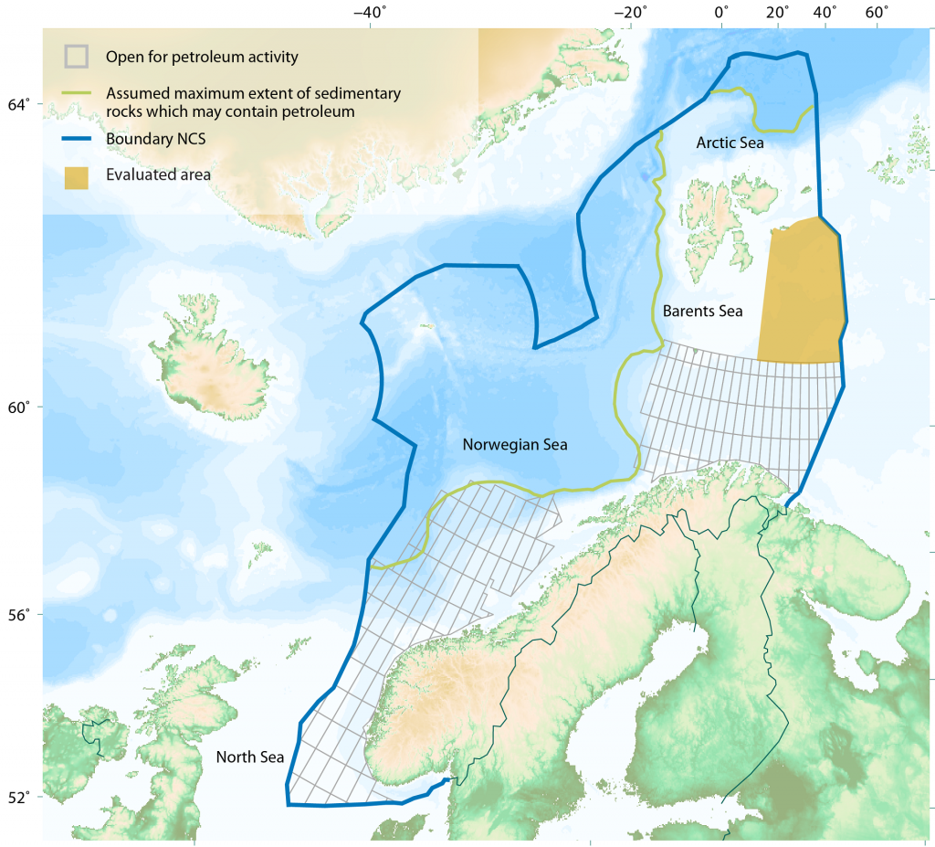 Map of the Norwegian continental shelf showing the new area.