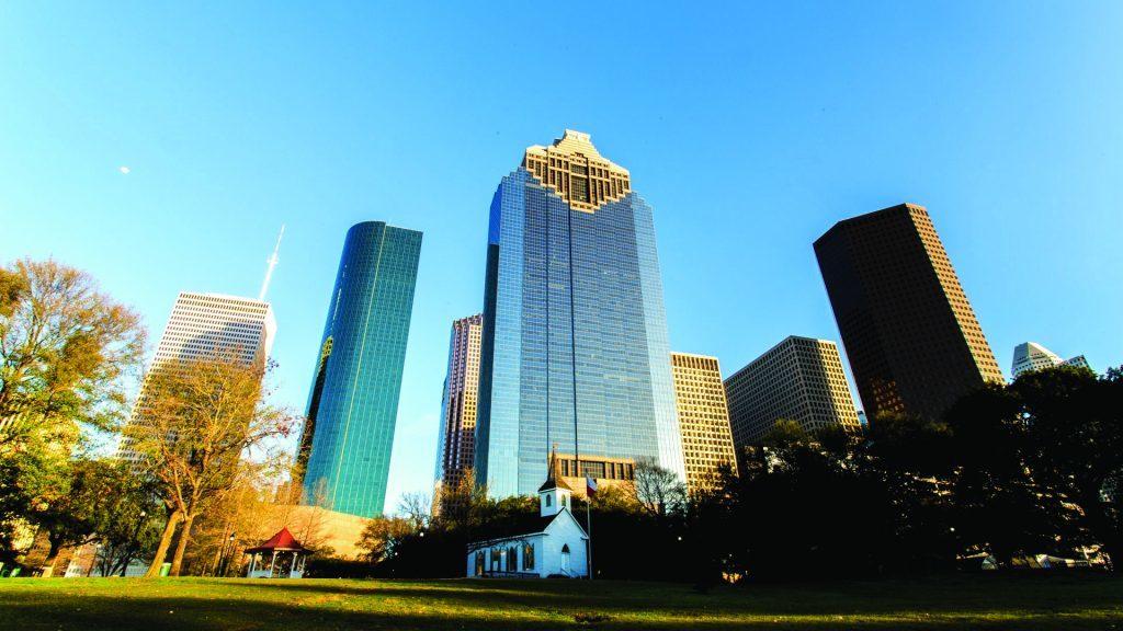 Houston's downtown Skyline from Sam Houston Park