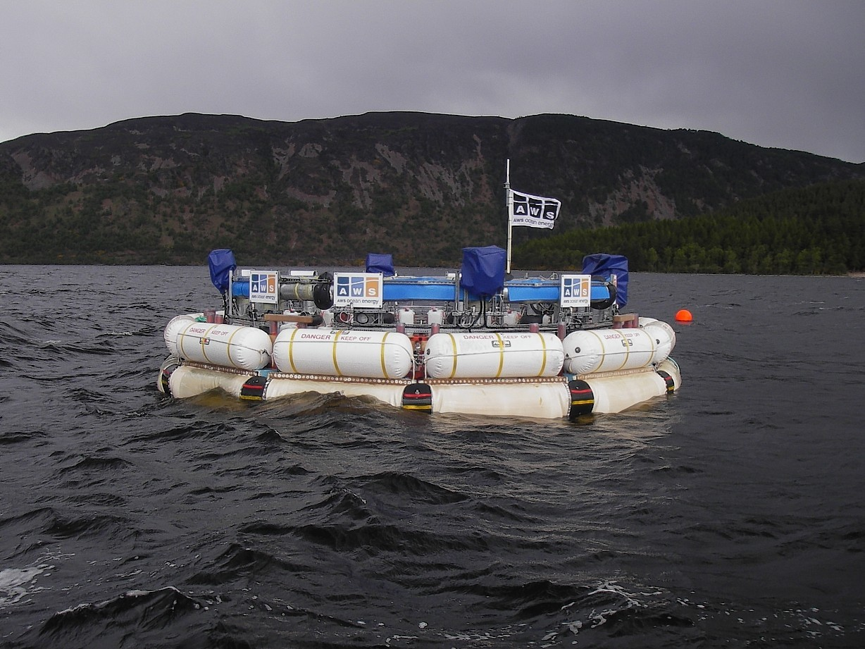 A 1/9th scale test version of the AWS Ocean Energy III wave power device shown here during testing on Loch Ness.