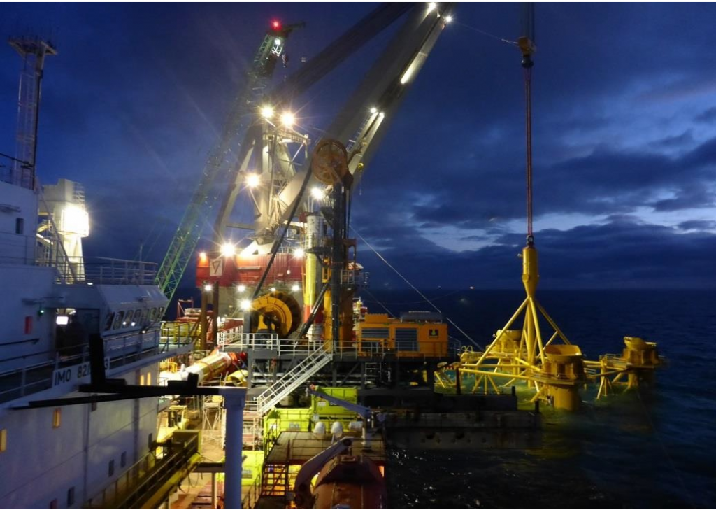 BIG ROLE: The first foundation piles being installed for the Beatrice offshore wind farm project, which was supported by Open4Business