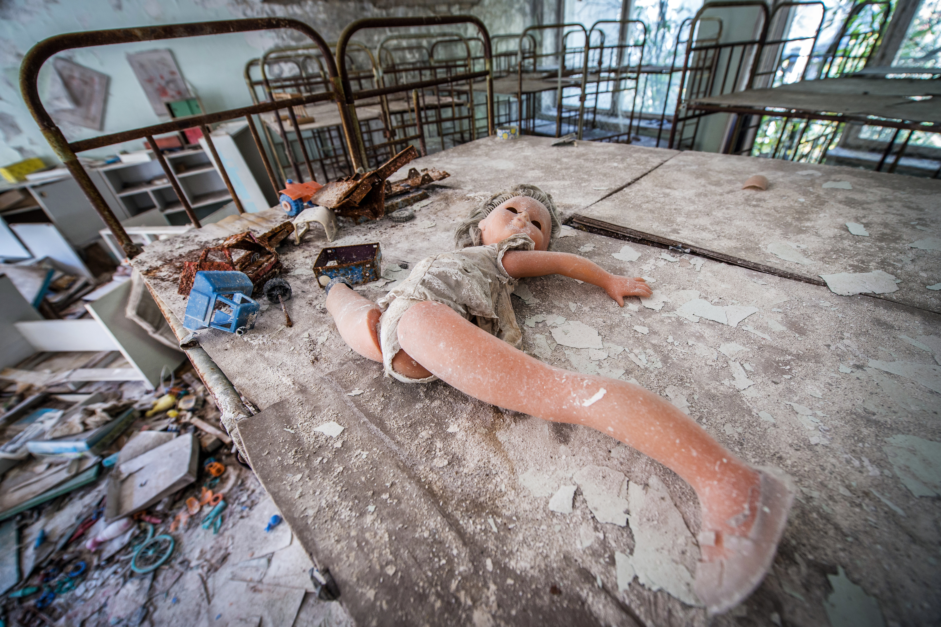 children beds in Cheburashka kindergarten in Pripyat ghost town, Chernobyl Nuclear Power Plant Zone of Alienation, Ukraine