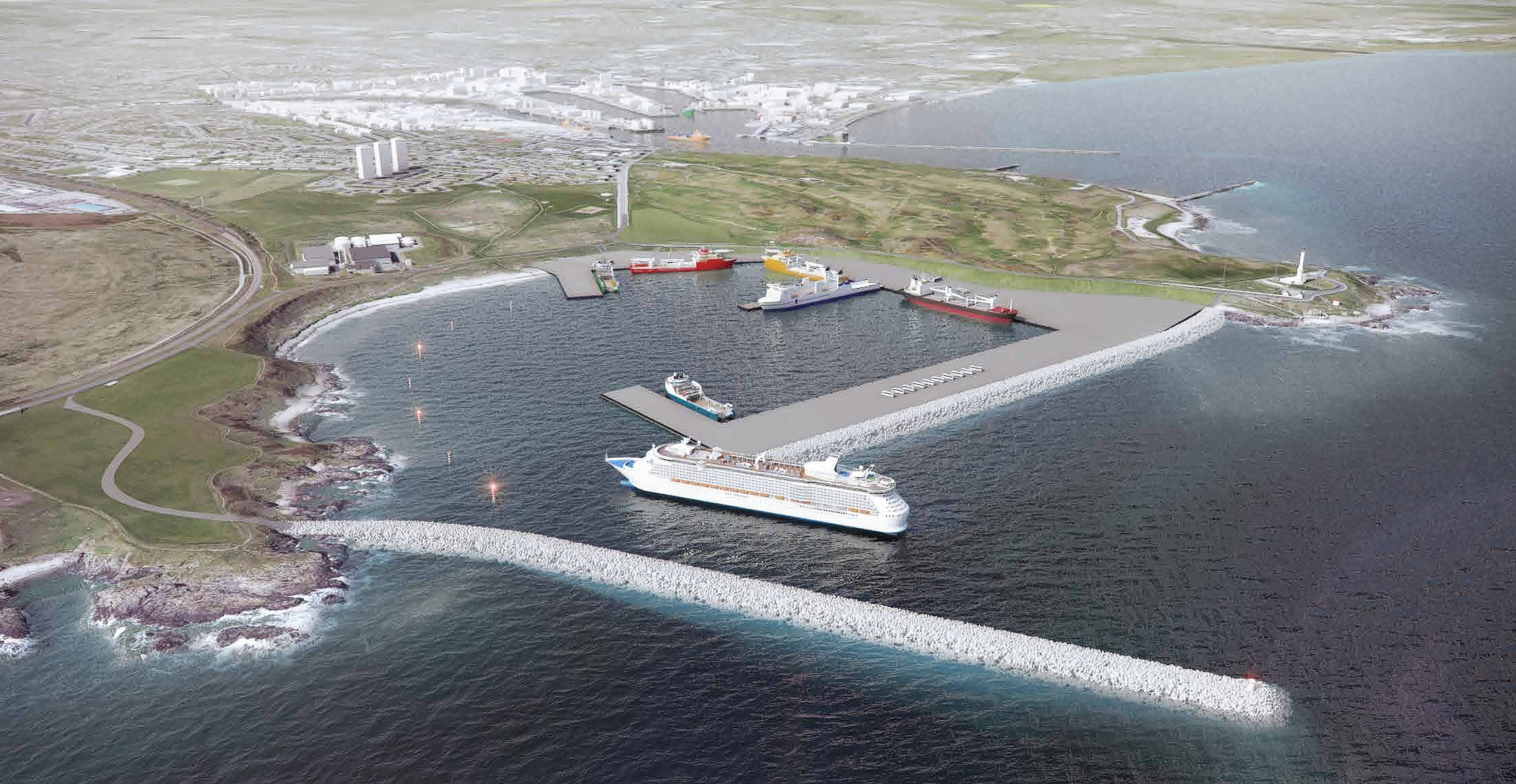 Artist impression of the proposed harbour at Nigg Bay