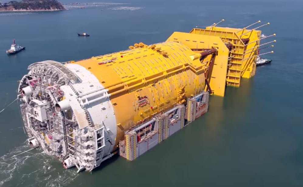 The Aasta Hansteen spar platform being loaded.