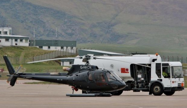 The Eurocopter AS350 refuelling at Sumburgh Airport on Wednesday. Photo: Ronnie Robertson