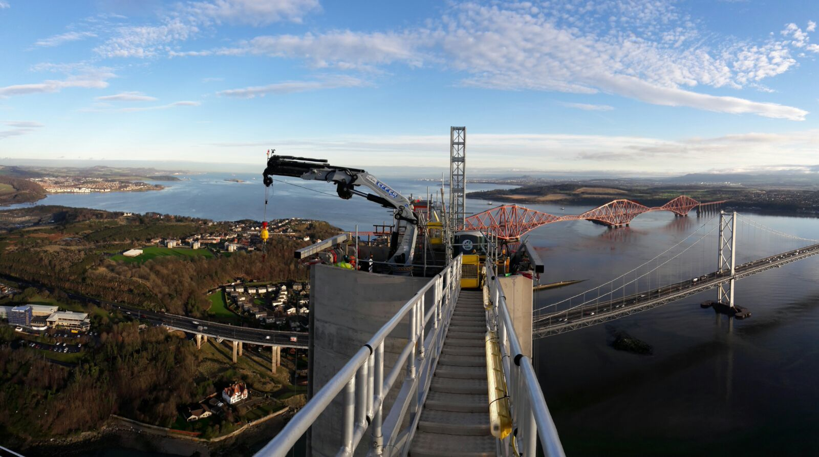 A Brimmond rental crane on top of one of the Queensferry Crossing's towers. Picture courtesy of Transport Scotland.