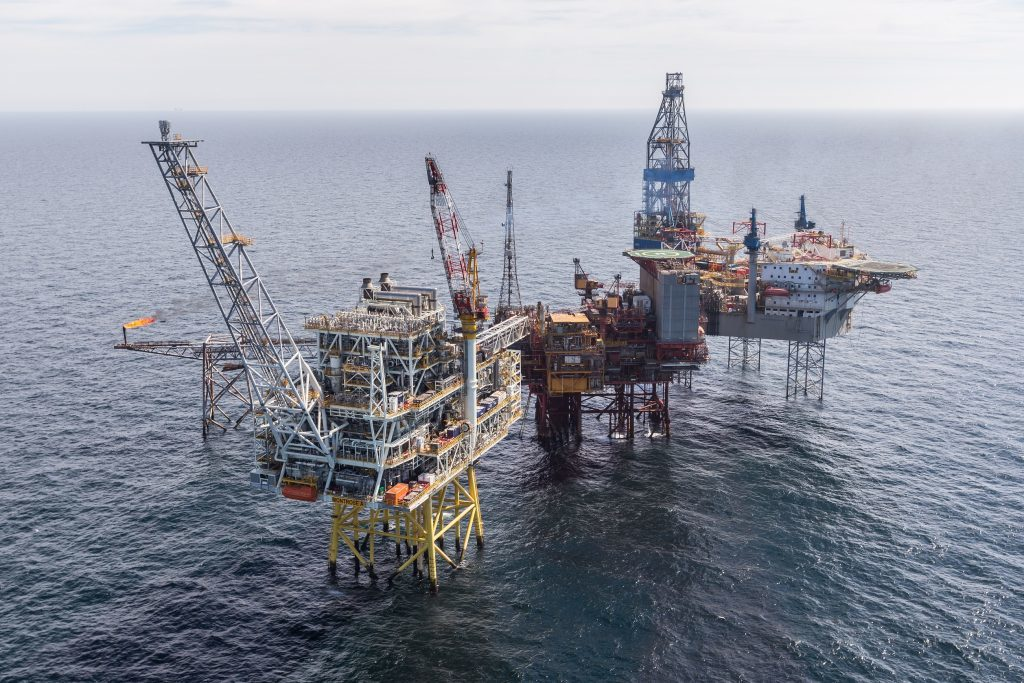 The Repsol Sinopec Resourses UK's Montrose Alpha platform with the Montrose BLP located in the North Sea