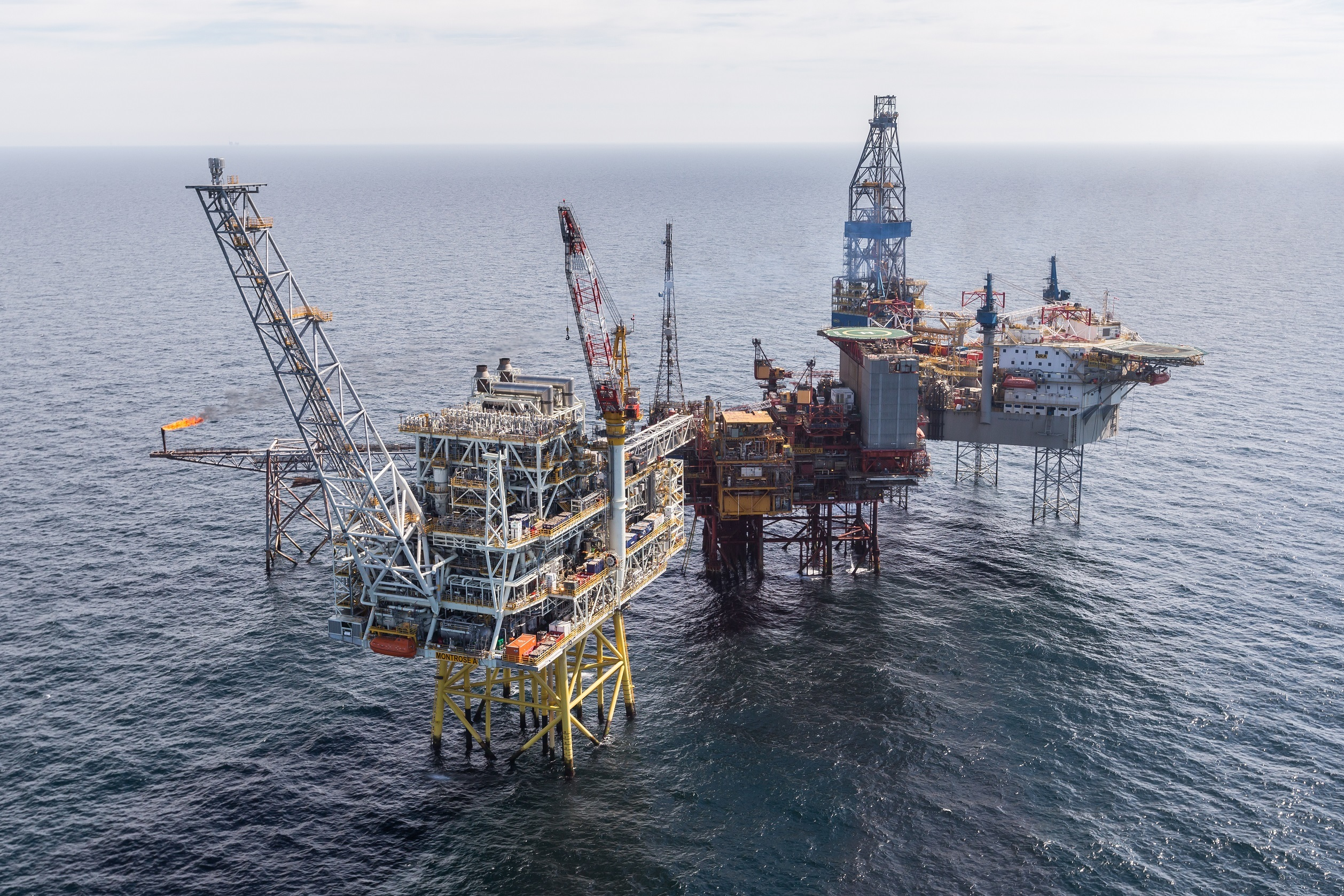 The Repsol Sinopec Resourses UK Montrose Alpha platform with the Montrose BLP located in the North Sea