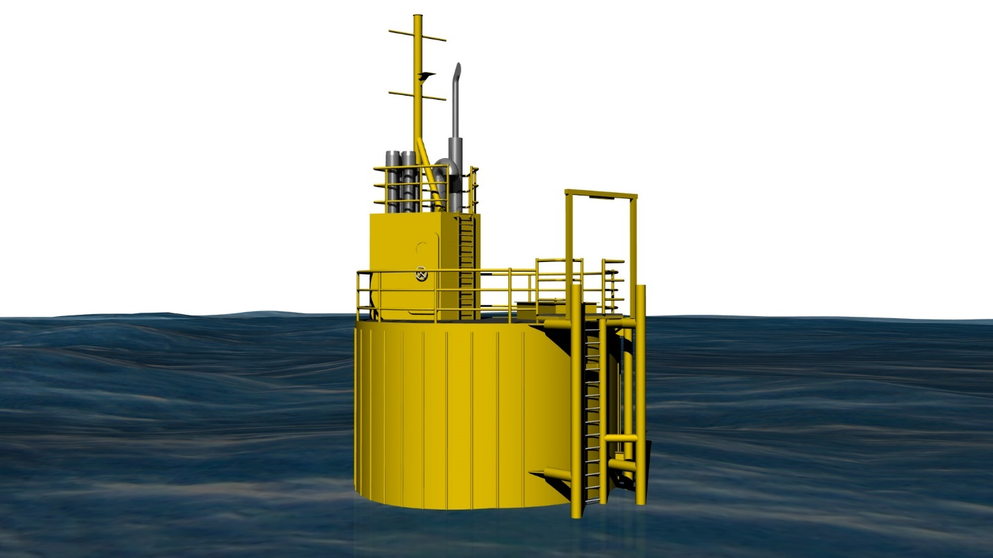 A computer generated image of the support platform Malin will build for Minesto's Deep Green project.