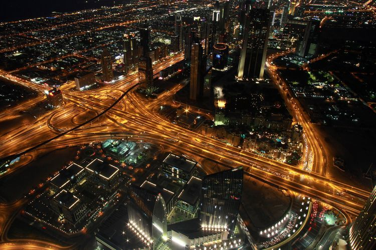 Sheik Zayed Road, one of the city's main thoroughfares, is lit by traffic light trails at night in Dubai, United Arab Emirates, on Sunday, Dec. 11, 2011. Dubai and its state-owned non-financial companies have $101.5 billion of outstanding debt and may need further financial support to meet those obligations, Moody's said. Photographer: Gabriela Maj/Bloomberg